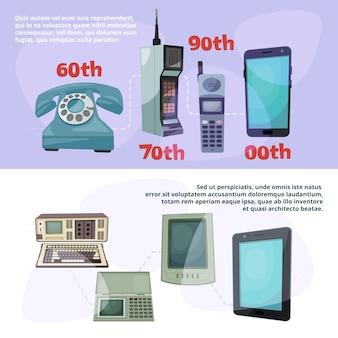 Visualisierung des technologischen fortschritts. banner mit verschiedenen retro-gadgets festgelegt