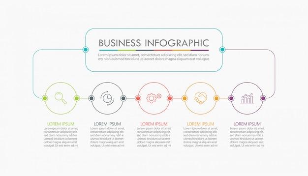 Visualisierung von geschäftsdaten. infographik timeline vorlage