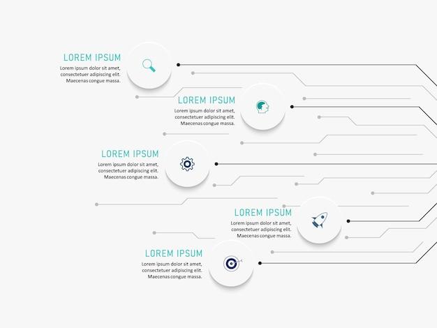 Visualisierung von geschäftsdaten. prozessdiagramm. abstrakte elemente eines diagramms, diagramms mit schritten, optionen, teilen oder prozessen. geschäftsvorlage. kreatives konzept für infografik.