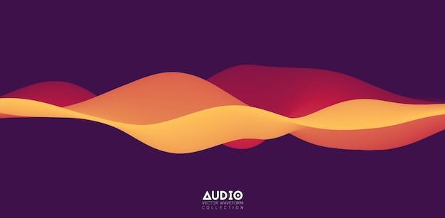 Visualisierung von schallwellen. 3d orangefarbene durchgehende wellenform