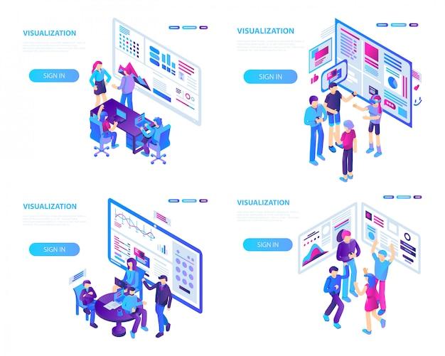 Visualisierungsbanner gesetzt. isometrischer satz der sichtbarmachungsvektorfahne für webdesign