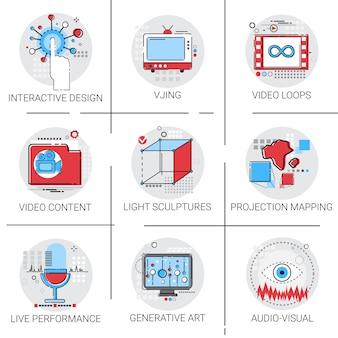 Visuelle multimedia-moderne kunst-wechselwirkender design-ikonen-satz