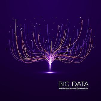 Visuelles big data-konzept. abstrakter technologie-hintergrund. musikwellen-komposition.