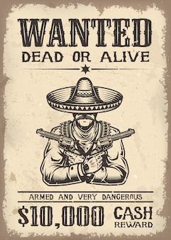 Vitage wild west wollte poster mit altem papier textur hintergrund