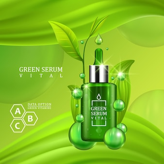 Vitalserum-tropfflasche mit grünen blättern auf saftig grünem hintergrund. hautpflege vitamin formel behandlungsdesign. beauty-produktkonzept. vektor
