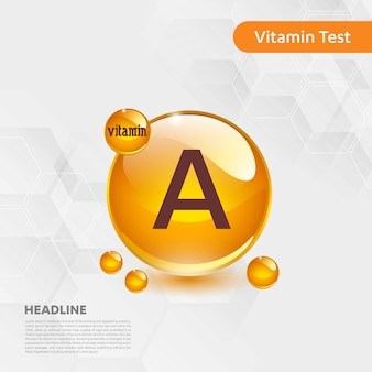 Vitamin a-ikonensammlung goldenes tropfenlebensmittel der vektorillustration