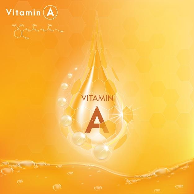 Vitamin a und struktur. 3d vitaminkomplex mit chemischer formel.