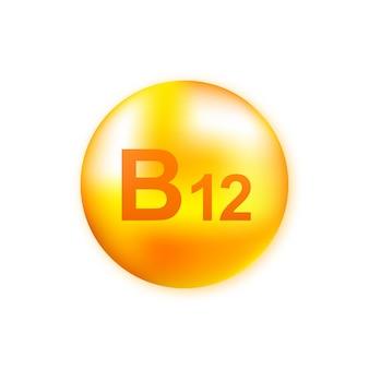 Vitamin b12 mit realistischer tropfenillustration.