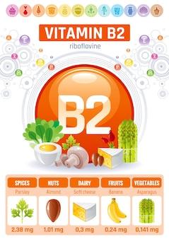 Vitamin b2 lebensmittel infografik poster. design für gesunde nahrungsergänzungsmittel
