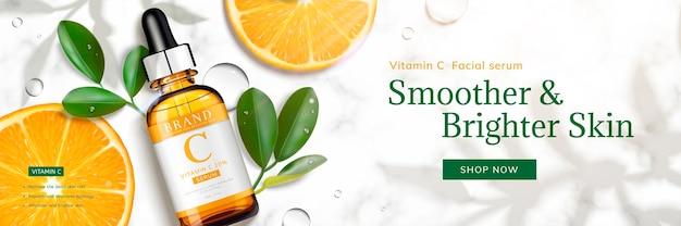 Vitamin c-essenzfahne mit geschnittener orangen- und tröpfchenflasche, die auf marmorsteintabelle, draufsicht der 3d-illustration liegt