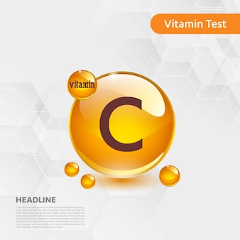 Vitamin c-ikonensammlung goldenes tropfenlebensmittel der vektorillustration