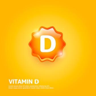 Vitamin d glänzendes etikett oder symbol. vektor-illustration