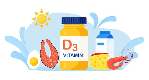 Vitamin-d-quellen. mit cholecalciferol angereicherte nahrung. milchprodukte, fetter fisch, käse, garnelen und eier. diätetische bio-ernährung. nahrungsergänzungsmittel und sonnenbaden zur mangelreduzierung