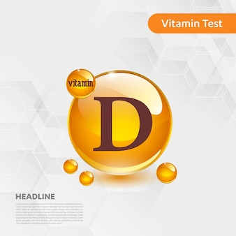 Vitamin d-sonnenikonensammlung goldenes tropfenlebensmittel der vektorillustration