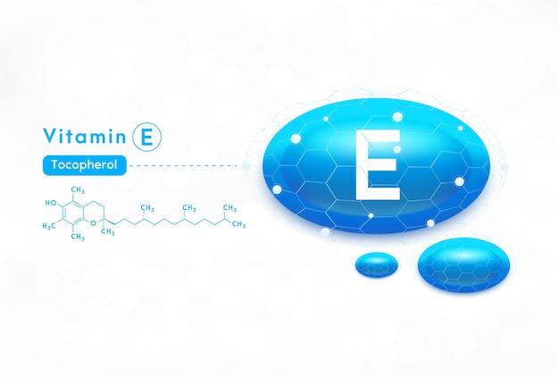 Vitamin e-konzeptetikett in grünen buchstaben im silbernen rahmen.