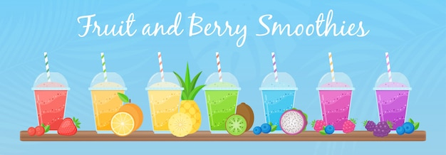 Vitamin smoothie cocktail sommer set illustration