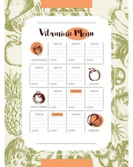 Vitamin-spalte-menü - vektor moderne handgezeichnete menüvorlage. obst, geschirr, tische mit exemplar.