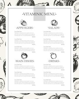 Vitamin-spalte-menü - vektor moderne handgezeichnete vorlage. obst, geschirr, tische mit exemplar.