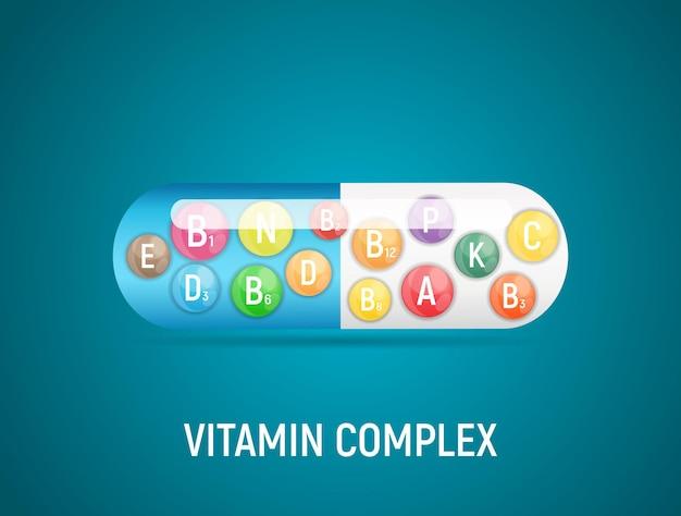 Vitamin- und antioxidantien-komplex. vektor-illustration eps10