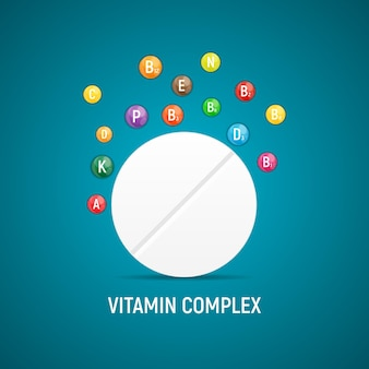 Vitamin- und antioxidantien-komplex. vektorillustration