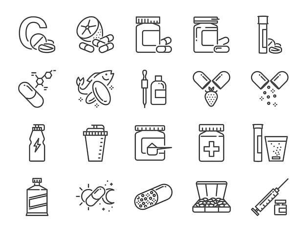 Vitamin und nahrungsergänzungsmittel icon-set