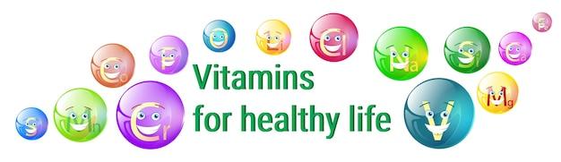 Vitamine nährstoff-mineralien bunte fahne