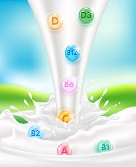 Vitamine und mineralien sind wichtige nährstoffe in der milch. milch trinken ist wohltuend für den körper.