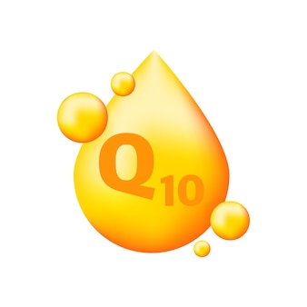 Vitaminkomplex q10 mit realistischem tropfen auf grau