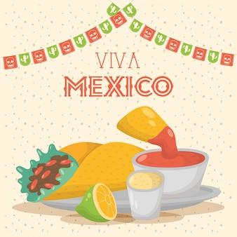 Viva mexico feier mit essen und saucen