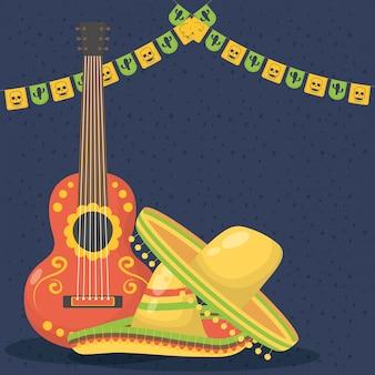 Viva mexico feier mit gitarre und hut