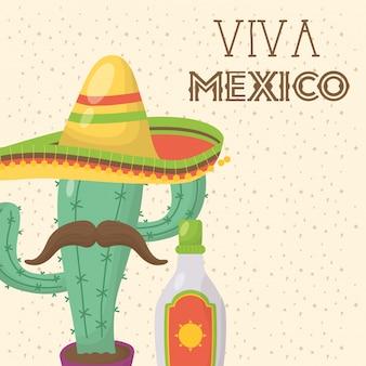 Viva mexico feier mit kaktus und hut