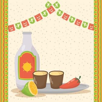 Viva mexico feier mit tequila flasche