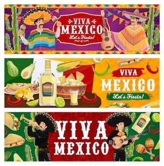 Viva mexico, fiesta party banner. mariachi-musiker in sombrero und poncho spielen musik. mexikanisches essen jalapeno chilischoten, guacamole mit nachos, tequila und limette. cinco de mayo festival