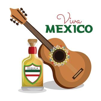 Viva mexico gitarre und flasche tequila