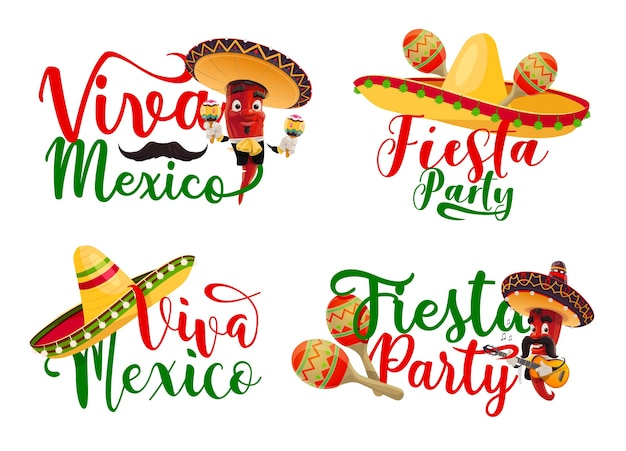 Viva mexico ikonen gesetzt mit mexikanischen fiestaparty-chili-mariachi-charakteren.