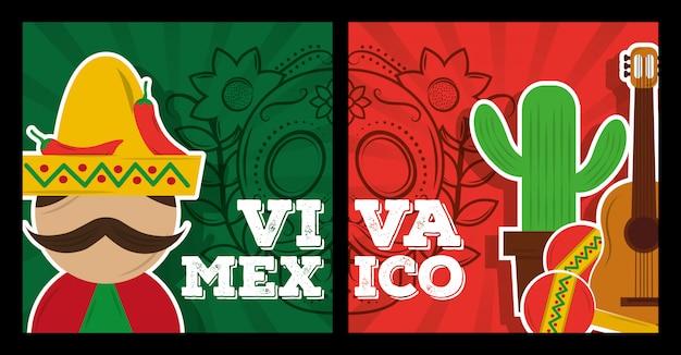 Viva mexico traditionelle karte