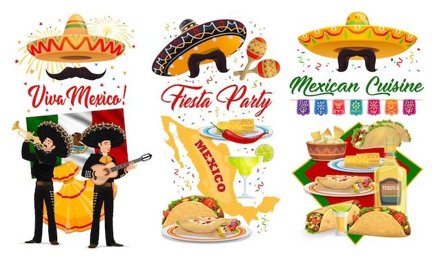 Viva mexico und cinco de mayo banner mit mexikanischen fiesta party sombreros, maracas und gitarren. mariachi, flagge von mexiko und tequila, tacos, burritos und guacamole, grußkartenentwurf