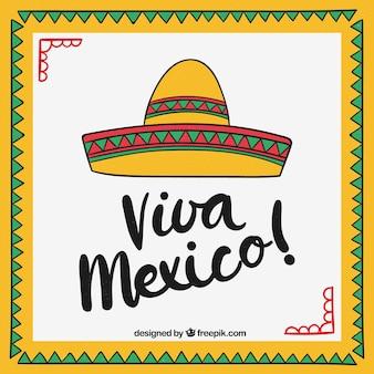 Viva mexiko-beschriftungshintergrund mit sombrero