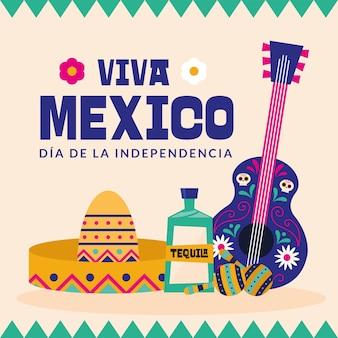 Viva mexiko dia de la independencia mit hut tequila und gitarrendesign, kulturthema vektorillustration