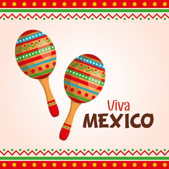 Viva mexiko-label mit maracas