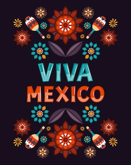 Viva mexiko plakat mit blumen. traditioneller mexikanischer feiertag.