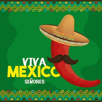 Viva mexiko-plakatikonenvektor-illustrationsdesign