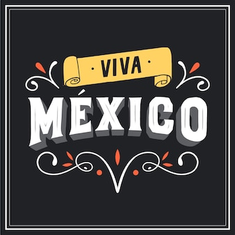 Viva mexiko schriftzug mit zierelementen