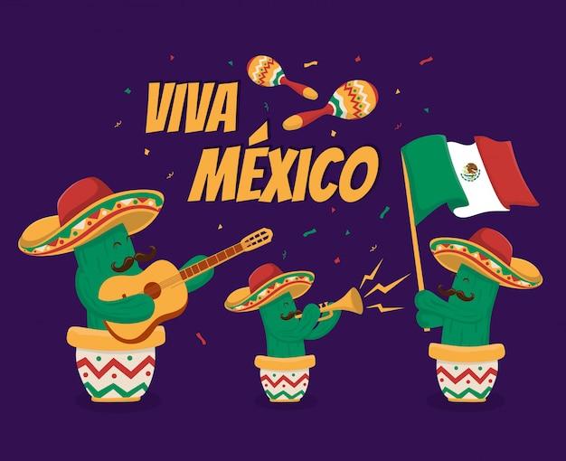 Viva mexiko unabhängigkeitstag feier festival illustration