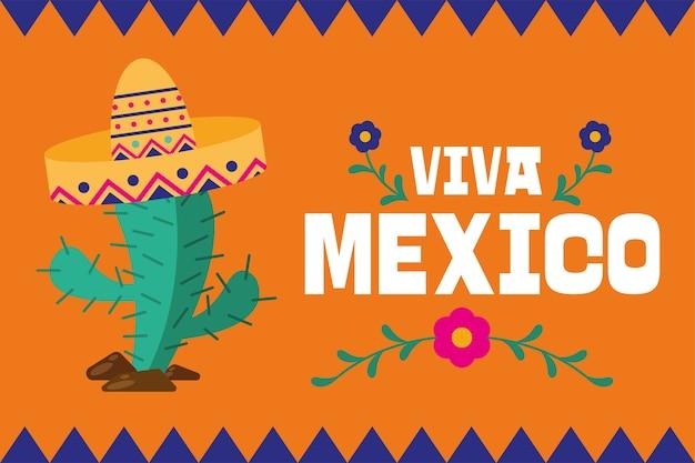 Viva mexiko und kaktus mit hutentwurf, kulturthema-vektorillustration