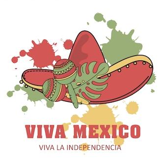 Viva unabhängigkeit mexikanisches illustrationsset