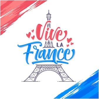 Vive la france bedeutet lang lebe frankreich gruß vorlage hintergrund