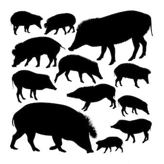 Vizayan warzenschwein tier silhouetten