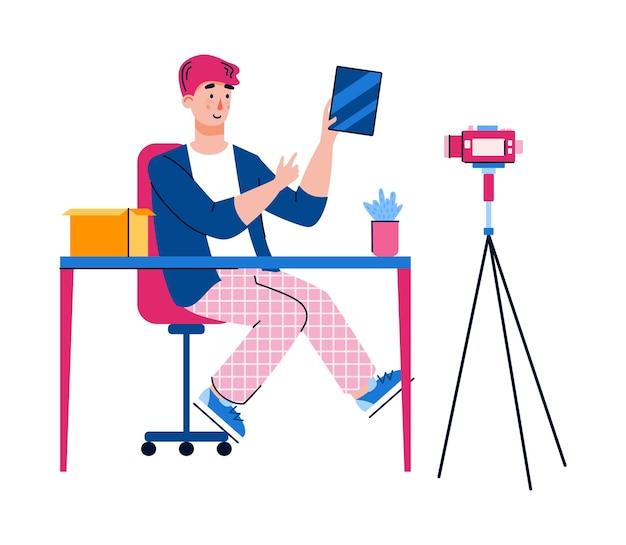 Vlogger macht eine einkaufsübersicht eine isolierte illustration