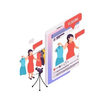 Vlogging isometrisches konzept mit frau, die modevideo 3d illustration macht